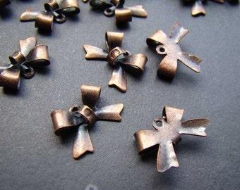 40pcs 15x10mm Antique Copper Butterfly Bowknot Charm Drop CH199
