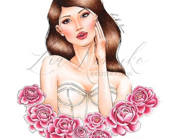 Peony Love Fashion Illustration Print Digital Download