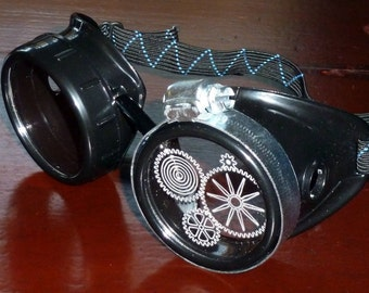 Steampunk Goggles Airship Captain Apocalyptic Mad Scientist Victorian Limited lens goth cyber club house P02