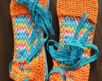 Turquoise espadrilles with flip flop soles, Tangerine uppers and Turquoise lace ankle ties