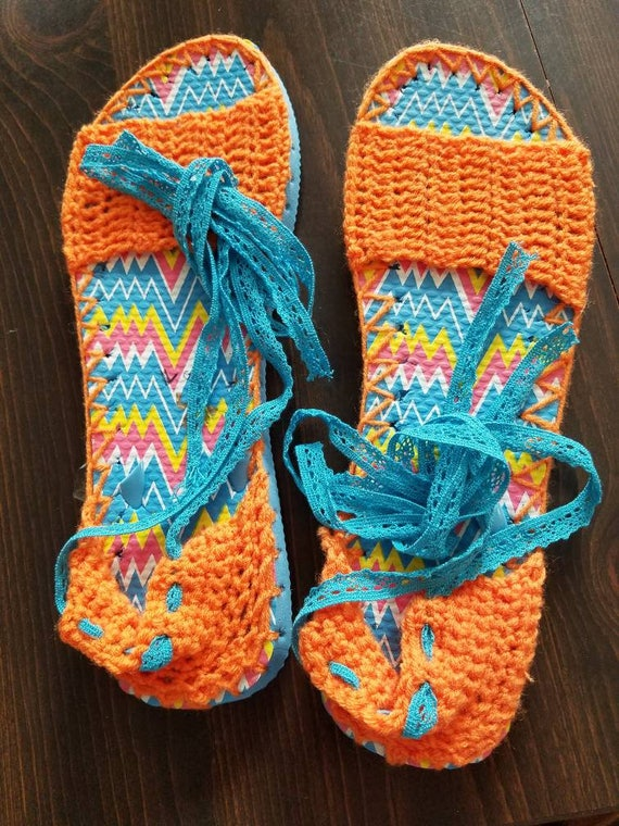 f0103a140a71 Turquoise espadrilles with flip flop soles Tangerine uppers