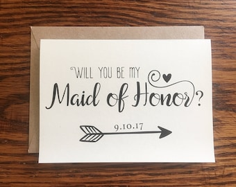 Will You Be My Maid of Honor Card, Custom Maid of Honor Card, Maid of Honor Proposal Card, Maid of Honor Wedding Card, Red Fern Studio