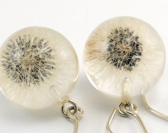 Small Dandelion Resin Earrings, Floral Silver Earrings