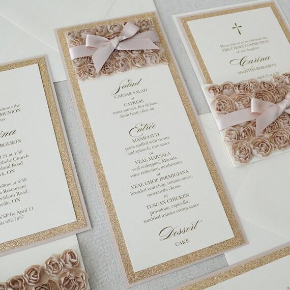 25 Pack of Rosette Menus - Champagne Rosette Menu - Rose Gold Glitter Menu- Blush Menu - Vertical Menu