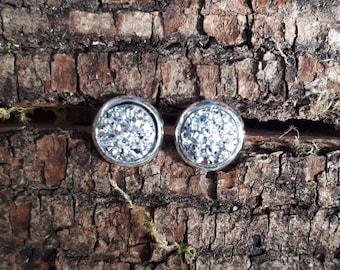 8mm silver faux druzy earrings