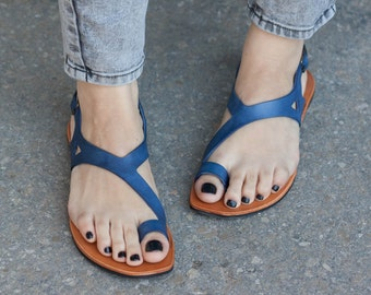 Blue Leather Sandals,Asymmetric Sandals, Summer Shoes, Blue Sandals, Flat Sandals , Free Shipping