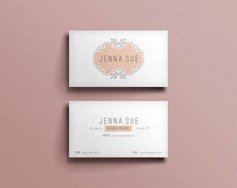 Elegant business card template /business card design/custom business card/peachy frame/modern business card/ template/printable/calling card
