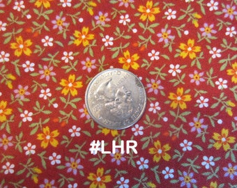 Floral Print, Tiny flowers on a Red background, Andover, Little House on the Prairie