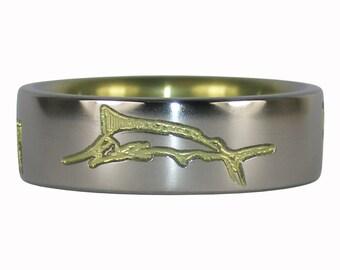 Yellow Anodized Marlin Titanium Ring