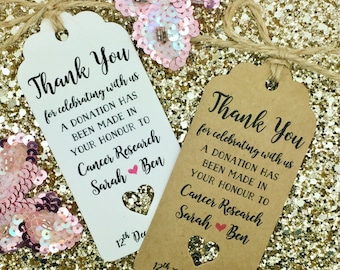 Charity Donation Gift Tag Wedding Favour Guest Label