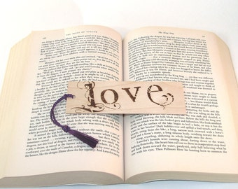 Wooden Bookmark - Hand Pyrography - Love