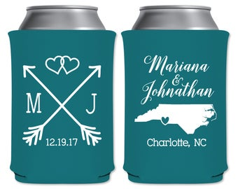 Neoprene Collapsible Custom Can Cooler Beverage Insulator Personalized Wedding Favors | Love Arrows | Custom State Map | READ DESCRIPTION