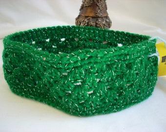 Child Christmas Headband, St. Patrick's Day, Christmas, Lacy Crocheted Headband, Girl's Green Lacy Headband