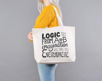Gym Bag - Canvas Shopper Bag - Canvas Grocery Tote - Market Tote - Bag with Pockets - Imagination Canvas Bag - Alphabet Bags
