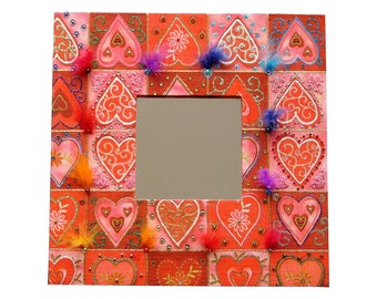 """Mirror wood """"Nest of love to the East"""" - dominant red color - custom"""