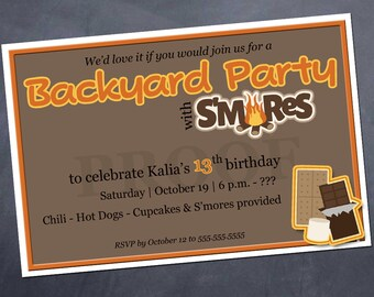 Printable Birthday Invitation - S'Mores Backyard Party - Customize