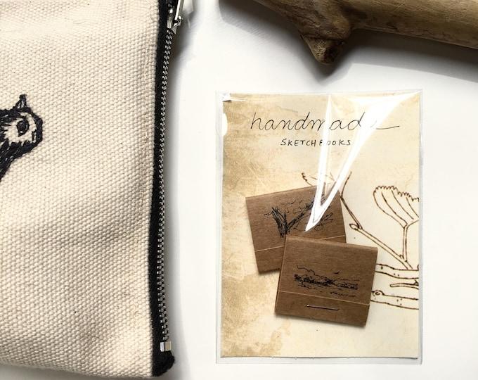 Branche / handmade sketchbooks / set of two matchbook style kraft paper covered sketchbooks with original ink illustrations