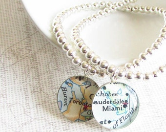 Personalized Sterling Silver Map Charm Beaded Bracelet - Custom Map Jewelry, Map Bracelet , Stretch Bracelet, Git for Girlfriend, World Map