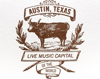 Austin Live Music Cow Card in Brown