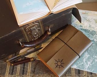 Kompass Explorer Reisetagebuch mit Karten, distressed faux Leder von tremundo