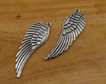 XL Large Feather wing charms, Angel, Double sided, silver tone, 50 mm, Jewelry Making Supplies, Key Ring, Zipper