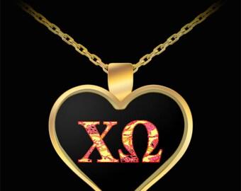 CHI OMEGA SORORITY Gold Pendant Necklace