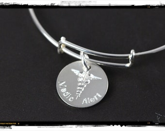 Medical Alert Bracelet, 925 Sterling Silver, Custom Engraved Medical ID Bangle Jewelry