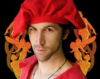 Renaissance Muffin Cap - Red Gauze Cotton
