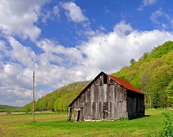 Amish Country 8x10 Valley Barn Hillside Farm with Clouds Rustic Ohio Home Decor Photo