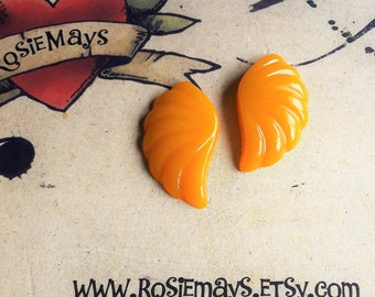 Carved Yellow Bakelite Style Earrings, Egg Yolk Yellow Art Deco Inspired Studs, 1940s Style, Fakelite Jewelry.
