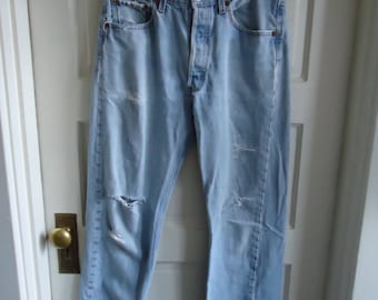 "Vintage 80s LEVI 501 Buttonfly Jeans Perfectly Worn In sz 32"" Waist"