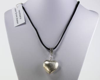 Brushed Silver Heart Pendant Necklace on Black Cord
