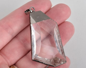 "1 Crystal Drop Pendant, Clear Glass, Faceted, Gunmetal Black Bail, 2.25"" long, chs4513"