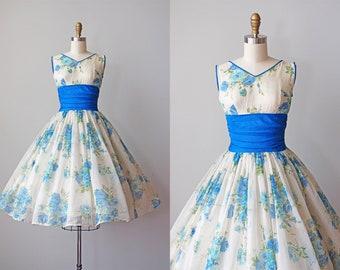 1950s Dress - Vintage 50s Dress - Stunning Sapphire Blue Rose Print Chiffon Party Sundress S