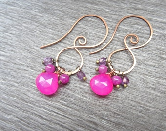 Copper earrings and Fuchsia pink chalcedony stones