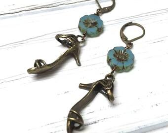 High Heel Charm Earrings. Long Drop Earrings. Flower Earrings. Dangle Earrings. Teal. Lever Back. Handmade Jewelry. 50mm.