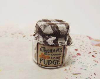 Dollhouse 1:12 Miniature Sweet / Candy Shop Glass Jar of Handmade Dairy Fudge