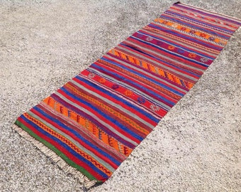Colorful Striped kilim runner, Vintage Turkish kilim runner, dowry rug, small kilim runner, vintage home decor, striped kilim rug, 039