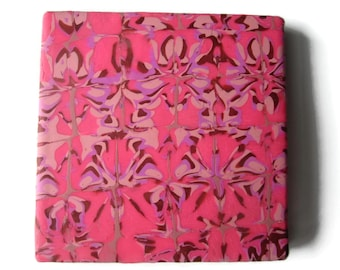 Tile Coaster or Small Trivet in Pinks with Copper and Violet Design