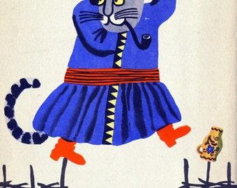 "Vintage Surreal Print ""Comrade Kitten"" Soviet Children's Illustration - Weird Cat in Clothing Print - Surreal Vintage Art - Nursery Decor"