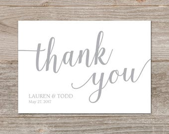 Gray Wedding Thank You Cards Printable // Editable Thank You Card Template // Silver Thank You Cards Wedding