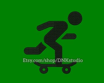 Skate Board Skater Embroidery Design - 6 Sizes - INSTANT DOWNLOAD