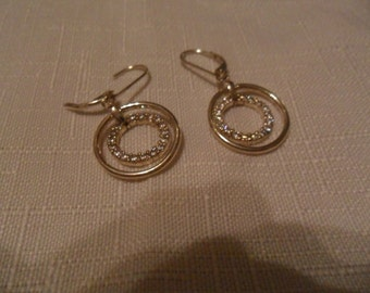 Vintage CZ Leaverback Sterling Silver Dangle Earrings