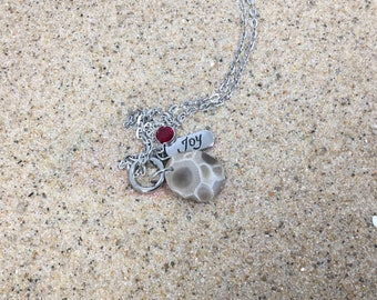 Petoskey stone necklace, rustic jewelry, Petoskey stone, Michigan jewelry, beach stone jewelry, handmade jewelry, gift for her, birthstone
