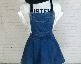 Vintage 90s denim overall dress with pleather straps size M