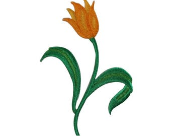 ID 6150 Yellow Tulip Flower Patch Blossom Garden Embroidered Iron On Applique