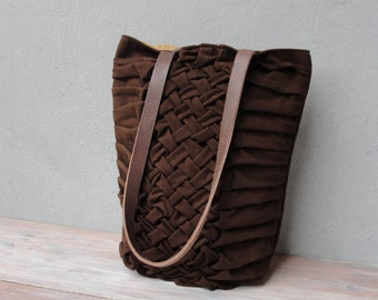 Smocked and Pleated Chocolate Bag, Leather Straps Dark Brown Tote