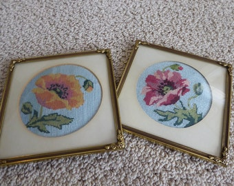Vintage ML Rammen  Brass Frames With Needlepoint  Poppies Free Standing Foot and Wall Mounts