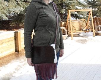 Handmade Leather Crossbody Purse / Cowhide Pink Leather fringe Crossbody/ Leather bag/ Crossbody Leather Shoulder Bag/ Western Style/ Women