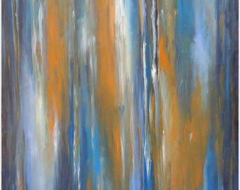 OPEN DOORS, original abstract painting in blue